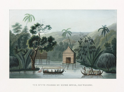 A pagoda at the haven of Offak, island of 'Waigiou', Indonesia, 1822-1825.