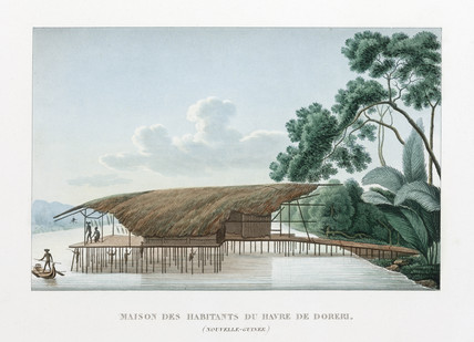 House of the inhabitants of the haven of Doreri, (New Guinea), 1822-1825.