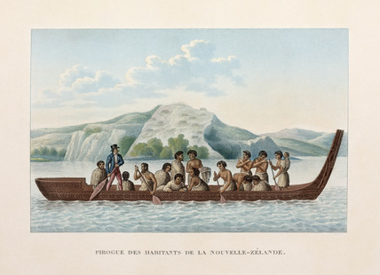 Maori canoe, New Zealand, 1822-1825.