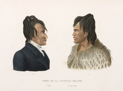 Tattooed Maori chiefs of New Zealand, 1822-1825.
