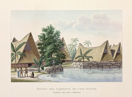 Houses on Oualan, Caroline Islands, (Micronesia), 1822-1825.