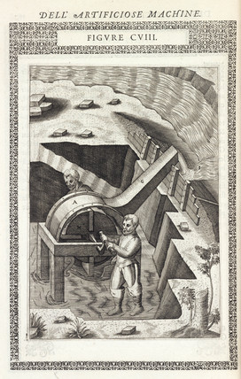 Machine for raising water from foundations or a marsh, 1588.