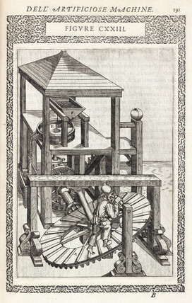 Treadmill for grinding grain, 1588.
