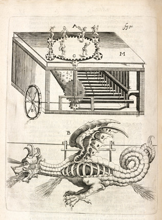Fire-powered music and firework dragon, 1635.