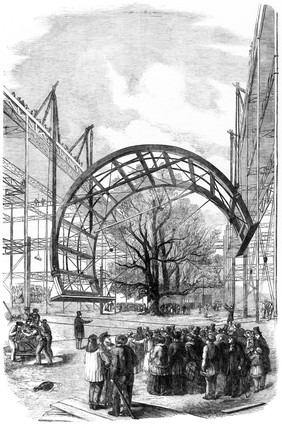 The transept of the Crystal Palace under construction, Hyde Park, London, 1850.