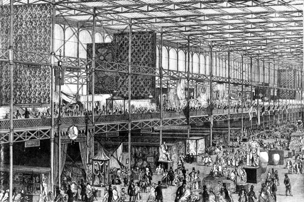 Crystal Palace, Exhibition, East nave, Hyde Park, London, 1851.
