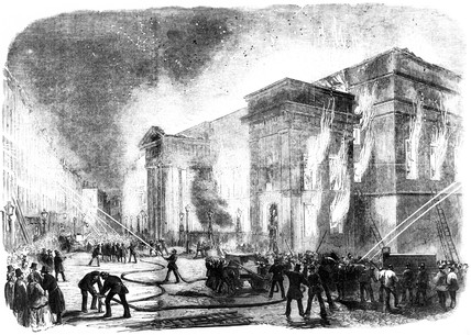 Covent Garden Theatre burning, London, 1856.