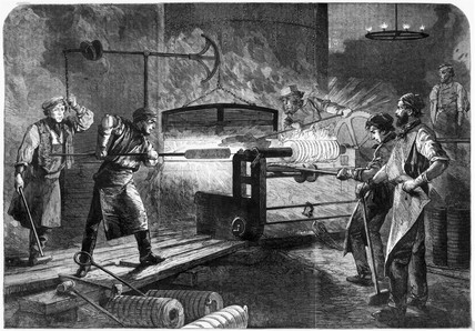 Production of Armstrong gun bars, Elswick, Tyne and Wear, 1862.