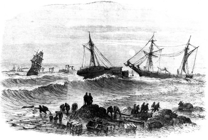 The wreck of s 'Stanley', Tynemouth, Tyne and Wear, 1864.