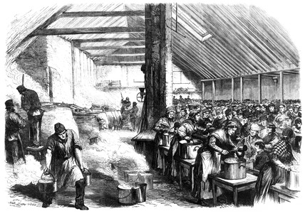 Soup kitchen, Spitalfields, London, 1867.