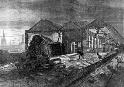 Accident at Wigan, Lancashire, 1873.