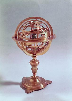 Bras armillary sphere made by Adam Heroldt of Rome in 1648.