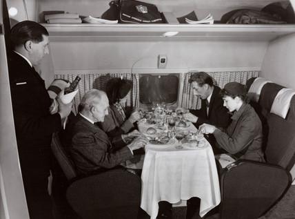 Pasengers eating on the new De Havilland Comet 1, 1951.