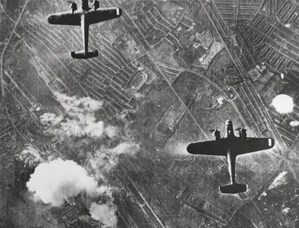 German Dornier 17 bombers in flight, 7 September 1940.