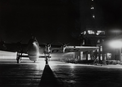 Ensign G-ADs 'Egeria' floodlit at Croydon Airport, c 1938-1939.