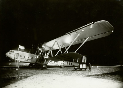 HP42 G-AAXD 'Horatius' at Paris-Le Bourget by night, c 1930s.