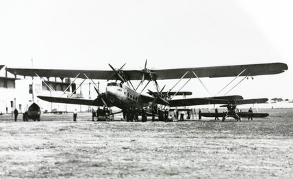 HP42 G-AAUC 'Horsa' on a gras airfield, c 1930s.
