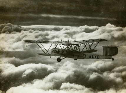 HP42 G-AAXD 'Horatius' in flight shortly after take off from Croydon, c 1930s.