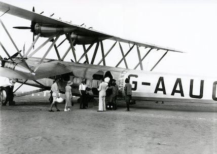 HP42 G-AAUC 'Horsa' at an Imperial Airways outpost, 1930s.