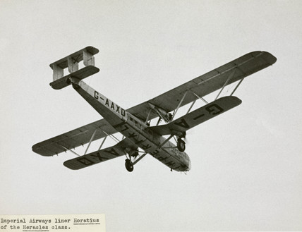 HP42 G-AAXD 'Horatius' overflying showing the Imperial titles, 1930s.