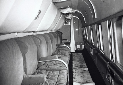 Pasengers' seats on am Avro 'Lancastrian' aeroplane, 1945-1950.