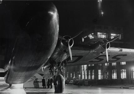 Ensign G-ADs 'Egeria' floodlit at Croydon Airport, c 1938.