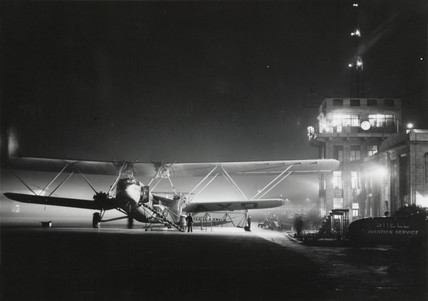 HP42 G-AAXD 'Horatius' on the floodlit ramp at Croydon Airport,  1930s.