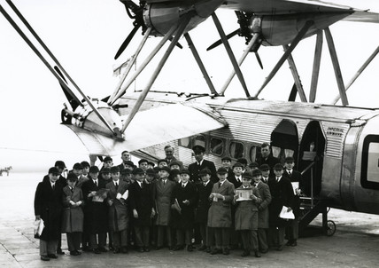 Boys from Marlborough House School in front of an HP42 at Croydon, c 1930s.