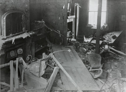 Bomb damage at St Leonards, Poplar, 1916.