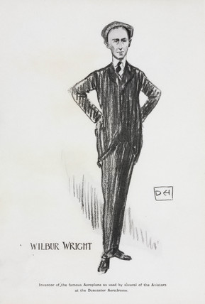 Wilbur Wright, drawn by Dudley Hardy, 1909.
