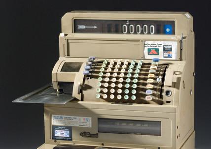 Electrical decimal cash register, c 1970.