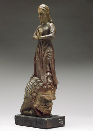 Wooden statue of Saint Margaret, posibly French, 1700-1850.