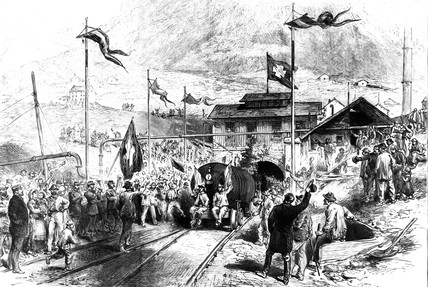 First train throught the St Gotthard tunnel, Switzerland, 1880.
