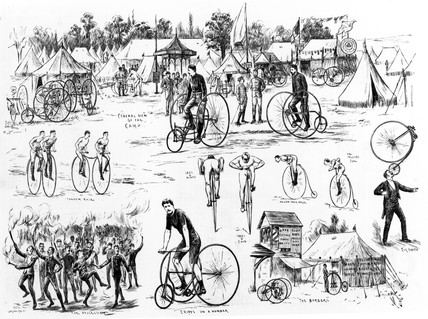 Cyclists' camp at Alexandra Palace, 1884.