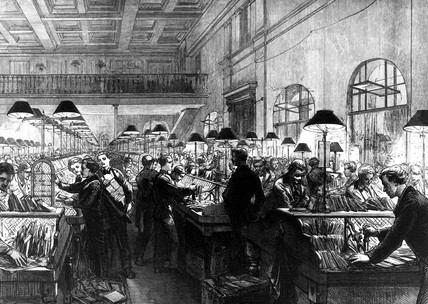 Post Office, stamping and sorting letters,  1875.