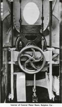'Interior of Control Motor Room, Railplane Car', c 1930.