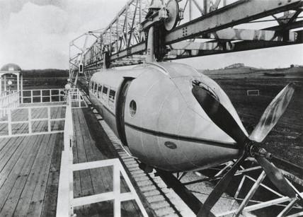 Railplane at test track station, Milngavie, West Dunbartonshire, c 1930.