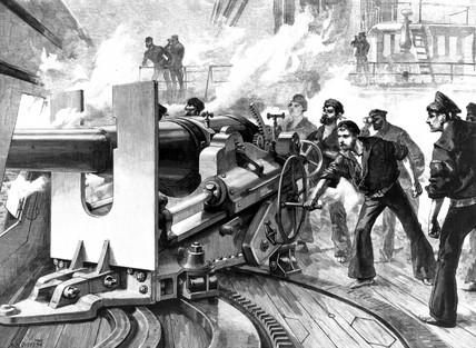 Testing a 6-inch gun aboard ship, 1889.