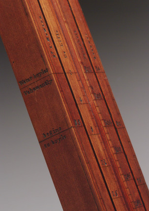 Detail of backing board for thermometer, c 1758.