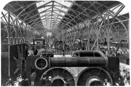 Machinery in Motion court, International Exhibition, London, 1862.