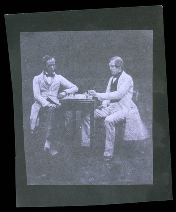Two men playing chess, c 1842.