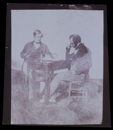 Two men playing ches, c 1842.
