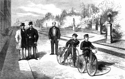 Emperor Napoleon III and the Prince Imperial cycling at the Tuilleries, 1869.