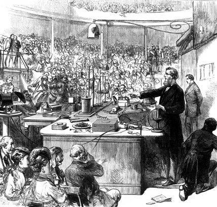 John Tyndale lecturing, Royal Institute, 1870.