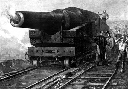 Firing the eighty-one ton gun, 1877.