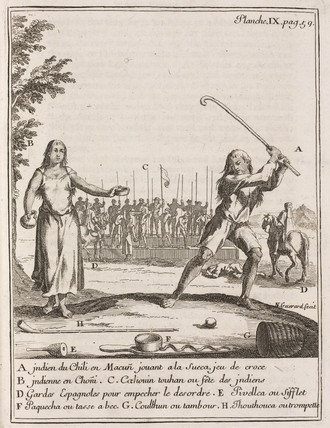 Chilean Indian playing a type of hockey, 1712-1714.
