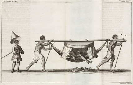 European being carried in a litter, South America, 1712-1714.
