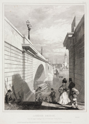 The new London Bridge from Southwark, c 1832.