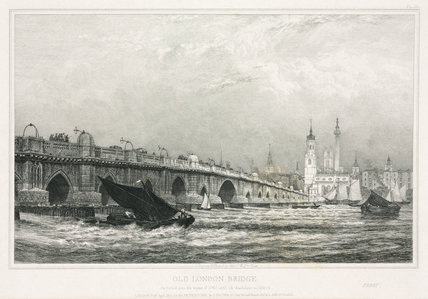 Old London Bridge, c 1830.