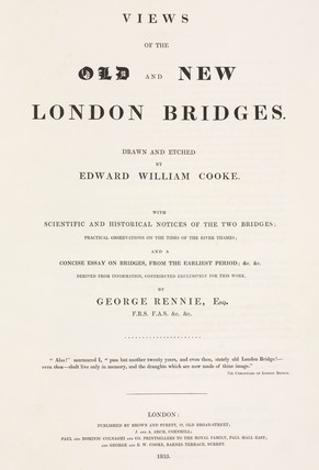 Title page to Cooke's book on the old and new London Bridges, 1833.